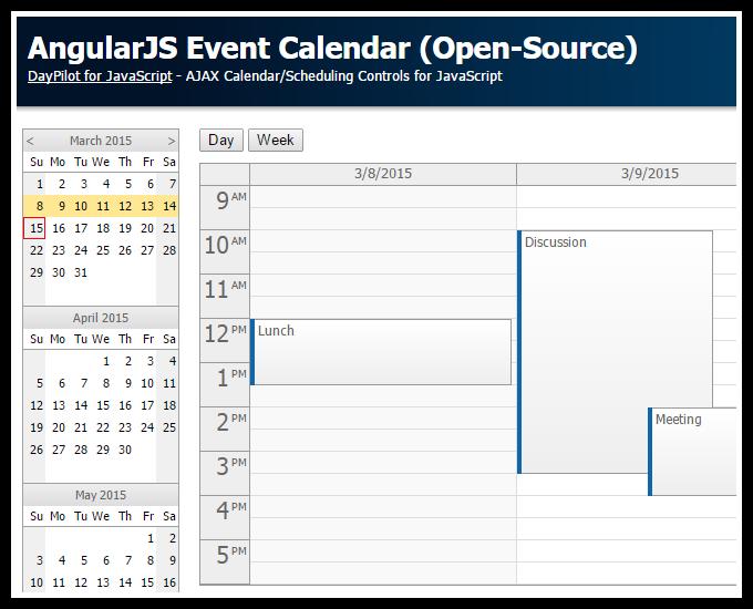 Calendar Planner Vb : Calendario de eventos con angularjs programación en
